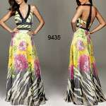 Double V neck Chiffon Printed Prom Dress 09638HP