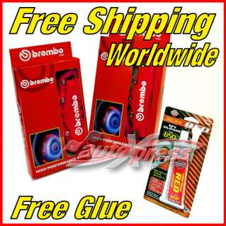 RED Brembo Style Brake Caliper Covers Set + FREE Glue