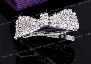 Crystal Rhinestone Bow Hair Barrette Clip Wedding 1.6x0.9 FASHION