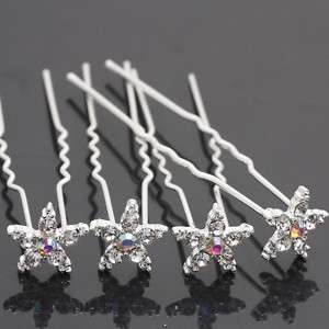 Bridal Party Wedding Prom Star Crystal Hair Pins Clip