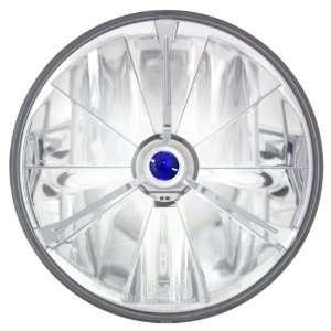 Pie Cut Blue Dot Tri Bar Motorcycle Headlight with H4 Bulb Automotive