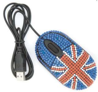 British Mouse   Jeweled Union Jack USB Mouse   Diamante