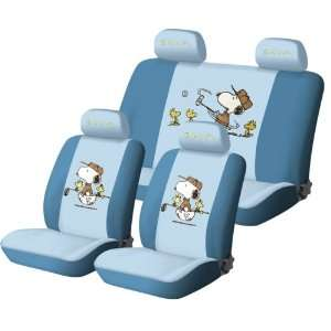 Snoopy universal car seat cover   10pcs full set blue   FREE gift