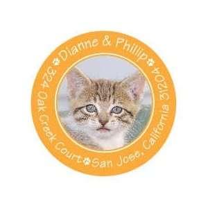 Cute Paw Prints Orange Pet Photo Sticker Round Sticker