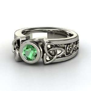Celtic Sun Ring, Round Emerald Sterling Silver Ring Jewelry