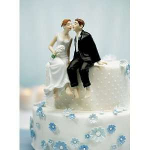 Wedding Cake Topper   Sitting Bride Groom   Caucasian (1