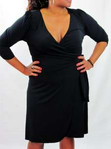 Studio M Dress, Three Quarter Sleeve Faux Wrap Jersey Plus Size