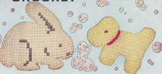 Vintage Crochet PATTERN Soft Doll Crib Toy Duck Bunny +