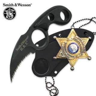Knife & Badge Holder Smith & Wesson Black Badge Hawk Blade Neck Knives
