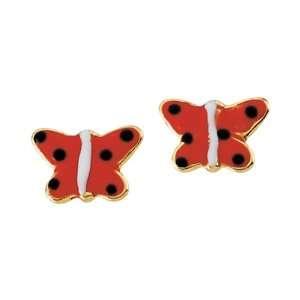 Gold Childrens Red Enamel Butterfly Earrings Katarina Jewelry
