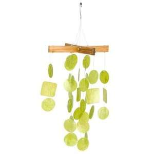 Mini Capiz Chime   Lime Green   Wood Top w/1in Capiz Shells, 30 Round