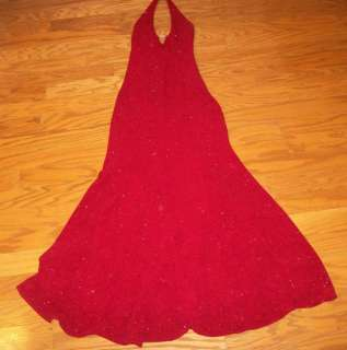 WOMENS CACHE LONG RED BURGUNDY GLITTER FORMAL EVENING PAGEANT PROM