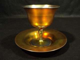 CARDER STEUBEN GOLD AURENE ART GLASS SHERBERT & PLATE