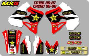ROCKSTAR MOTOCROSS MX GRAPHICS STICKERS DECAL KIT HONDA CR125 95 97