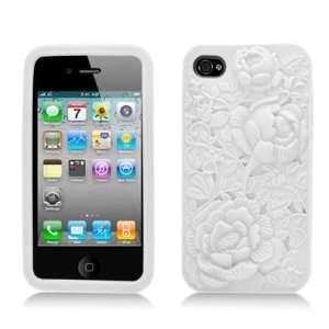 White Rose Flower Soft Silicone Laser Cut Skin for Apple