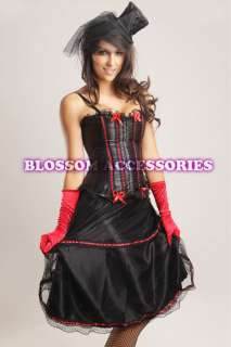066R Ladies Red Burlesque Saloon Can Can Moulin Rouge Corset Skirt