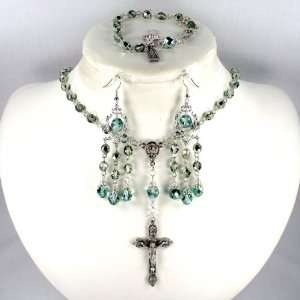 Catholic Wedding Jewelry Iced Mint Metallic crystal 6mm rosary