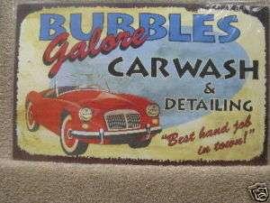 Bubbles Car Wash Funny Decor Vintage look Tin Sign