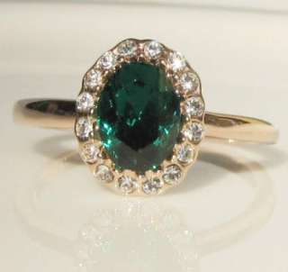 Carat green Emerald Princess 18K gold GP Ring promise engagement