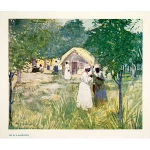 1906 Color Print Hut Plantation Jamaica Indigenous People