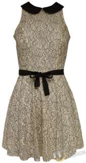 NEW WOMENS LADIES BELTED LACE SKATER DRESS TOP SKIRT SIZE UK 8,10,12