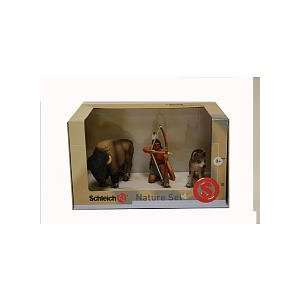 Schleich American Frontier: Indian,Wolf and Buffalo 3 pc