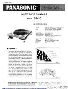 Technics SP 10MK3 Turntable Service Manual PDF format