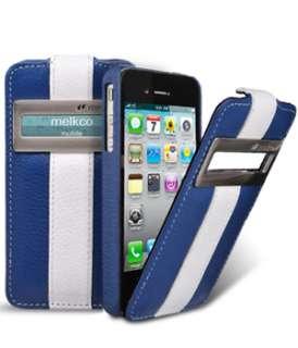 Leather Case Apple iPhone 4 4S iPhone 4 CDMA Verizon Jacka ID/Bla