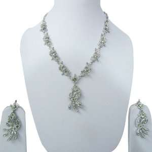 Crystal Necklace Earring Set Indian Fashion Women Jewelry Jewelry