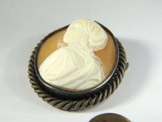 CARVED SHELL CAMEO PIN BROOCH BEATRICE CENCI GUIDO RENI c1860