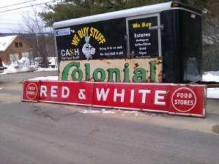 Vintage Grocery Food Stores RED & WHITE Porcelain SIGN 4 Piece HUGE 15