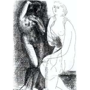 46 inches   Mujer desnuda delante de una estatu Home & Kitchen