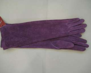 40cm(15.7) long 100% real suede leather gloves*black