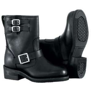 Road Womens Twin Buckle Engineer Motorcycle Boots Black 7 Automotive