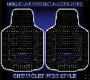 2PC CHEVY CHEVROLET WIDE BLUE BOW TIE FRONT FLOOR MATS