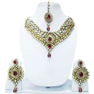 Multicolor Indian Bridal Women Necklace Earrings Set Gift Jewelry