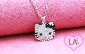SMALL SILVER CRYSTAL BLACK BOW HELLO KITTY NECKLACE