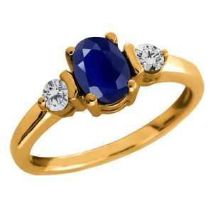 1.26 Ct Oval Blue Sapphire Gemstone Gold Plated Sterling