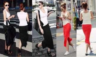 Womens Slim Split Elastic Waist Gypsy Long Jersey Maxi Skirt Full Tube
