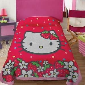 New Girls Sanrio Hello Kitty Strawberry Fleece Blanket Twin Full