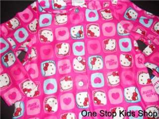 HELLO KITTY Girls 2T 3T 4T Flannel Pjs Set PAJAMAS Shirt Pants PINK