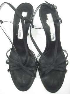 CHRISTIAN LACROIX Black Satin Strappy Heels Shoes 8.5