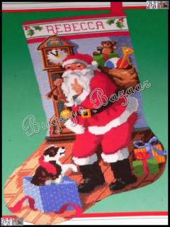 Dimensions CHRISTMAS EVE STOCKING, Santa & Puppy Needlepoint Kit