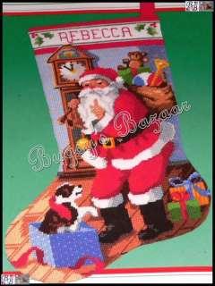 Dimensions CHRISTMAS EVE STOCKING, Santa & Puppy Needlepoint Kit