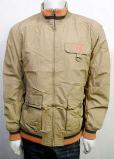 Mens TIMBERLAND relaxed fit jacket size XL beige tan brown orange zip