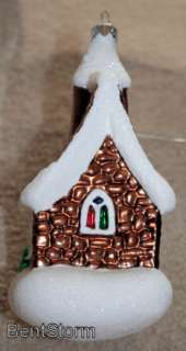 1999 HALLMARK VILLAGE CHURCH blown Glass ORNAMENT XMAS