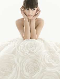 White Rose Flower Wedding Dress Quinceanera Prom Ball Gowns Size