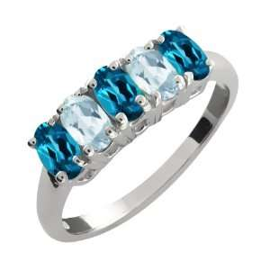 2.51 Ct Oval London Blue Topaz and Sky Blue Aquamarine 14k