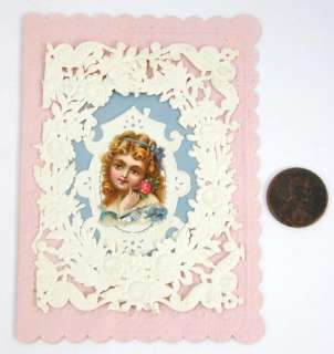 Victorian Valentine Paper Lace Die Cut Girl Pink Paper