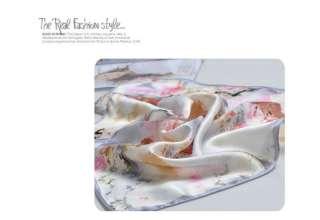 Women Silk Scarf Oil Painting Flower Pattern 100% Silk Square Scarf